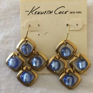 KENNETH COLE Dangling Earrings Gold Blue Stone NWT